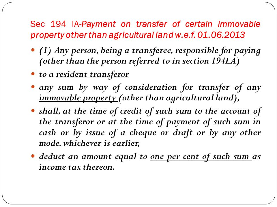 (2) No deduction under sub-section (1) shall be made where the consideration for the transfer of an immovable property is less than fifty lakh rupees.