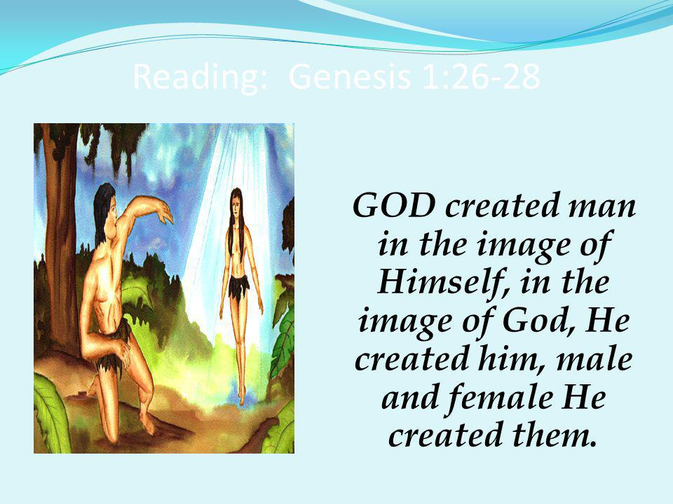 Reading: Genesis 1:26-28 GOD blessed them, saying to them, 'Be fruitful, multiply, fill the earth and subdue it.