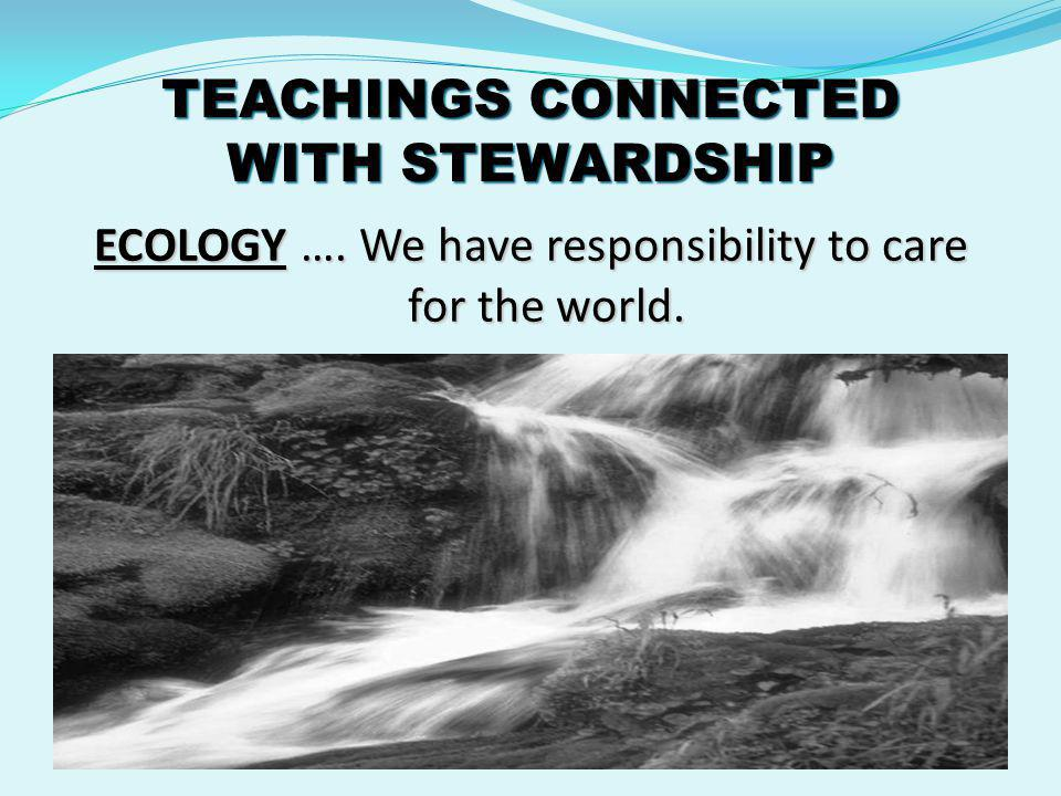 TEACHINGS CONNECTED WITH STEWARDSHIP UNIVERSAL DESTINATION OF EARTHLY GOODS ….