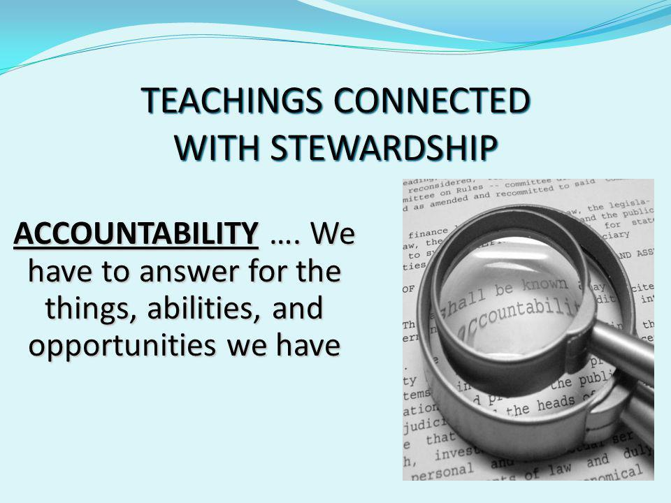 TEACHINGS CONNECTED WITH STEWARDSHIP TRANSPARENCY ….