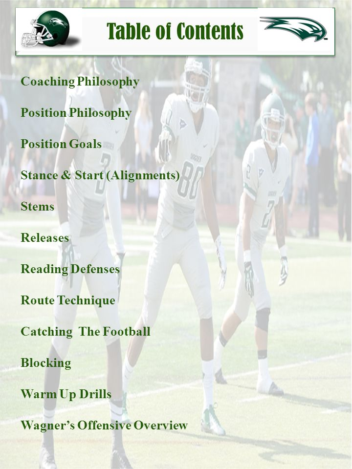 Position Philosophy My Philosophy as a wide receiver coach is to define the fundamental skills essential to playing successful football.