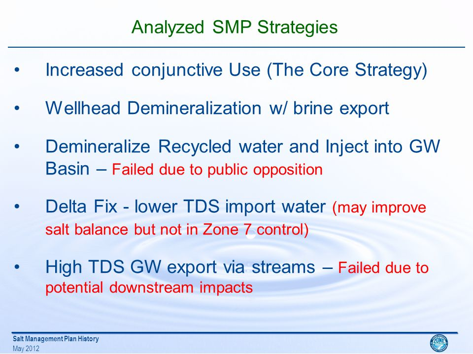 Salt Management Plan History May 2012 Zone 7 Board Approval and Implementation In August 1999 Zone 7 Board approved SMP –Increased conjunctive use with wellhead demineralization Strategy: –Mitigate existing and future salt loading –Maintain or Improve delivered water quality –Annual salt management decisions made through operations planning to provide flexibility to minimize cost and achieve long term goal