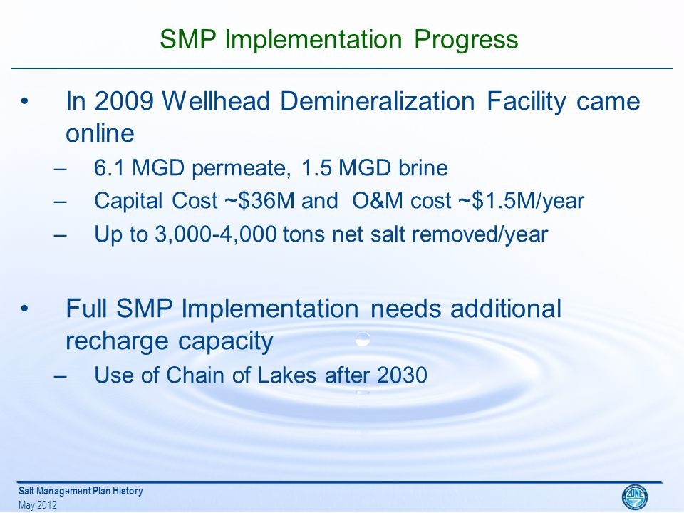 Salt Management Plan History May 2012 Mocho Demineralization Plant