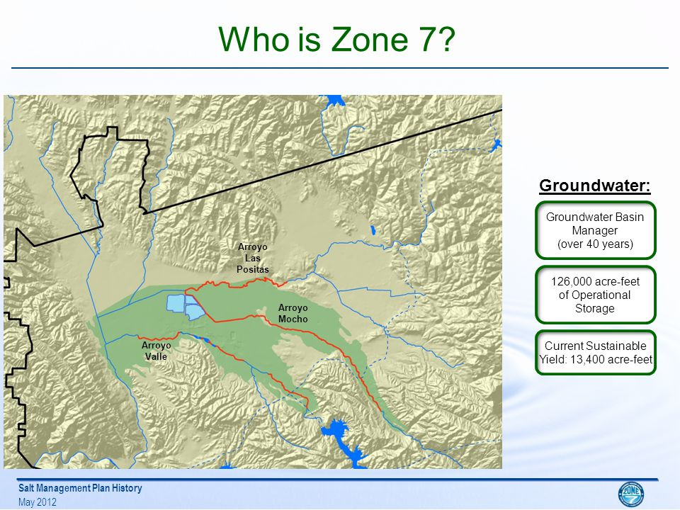 Salt Management Plan History May 2012 About Zone 7: Water Facilities DV WTP 40 mgd PP WTP 19 mgd SBA WELLS 40 mgd Dougherty Reservoir