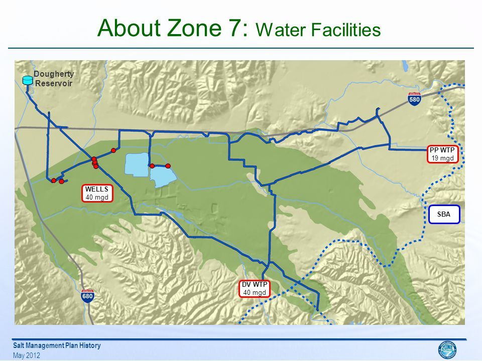Salt Management Plan History May 2012 Challenges in early 1990s Additional water supply needed to meet projected demands Need to expand wastewater export capacity Zone 7 and the two wastewater management agencies co-sponsored a Water Recycling Study