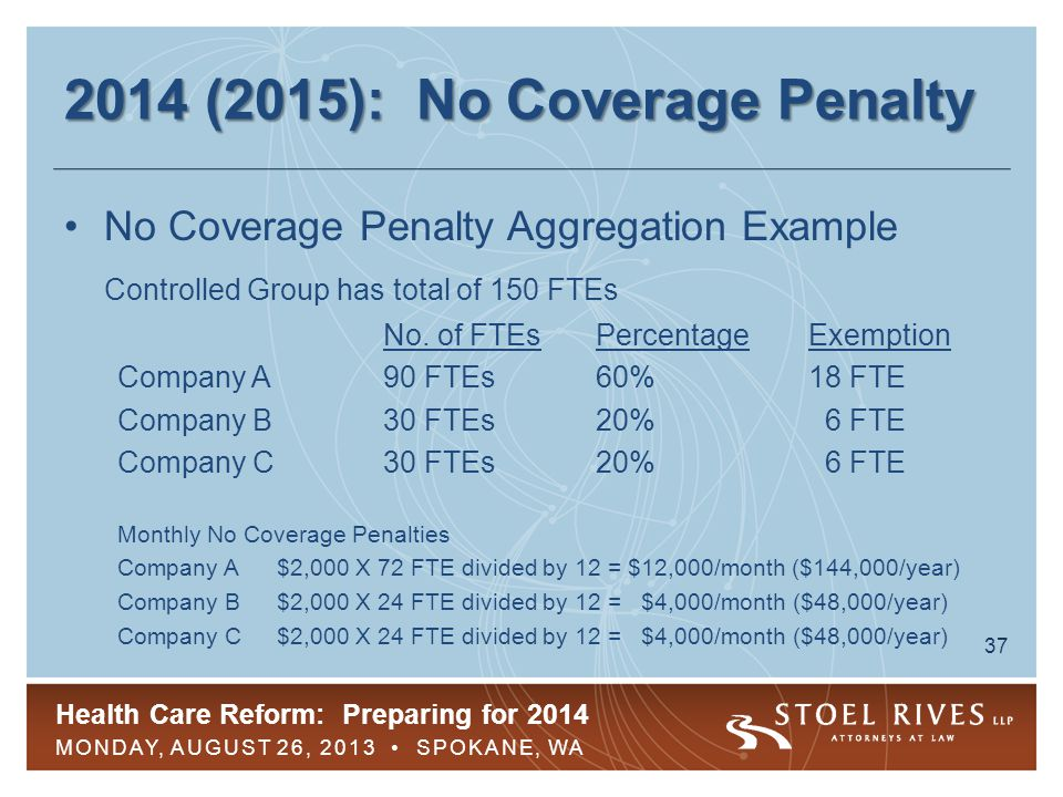 Health Care Reform: Preparing for 2014 MONDAY, AUGUST 26, 2013 SPOKANE, WA 38 2014 (2015): Insufficient Coverage Penalty Imposed when these requirements are met: –Employer offers coverage to 95% or more of FTEs –FTE receives a premium tax credit –Monthly penalty is lesser of following, divided by 12: $2,000 per FTE (after subtracting first 30 FTEs) $3,000 per FTE receiving premium tax credit