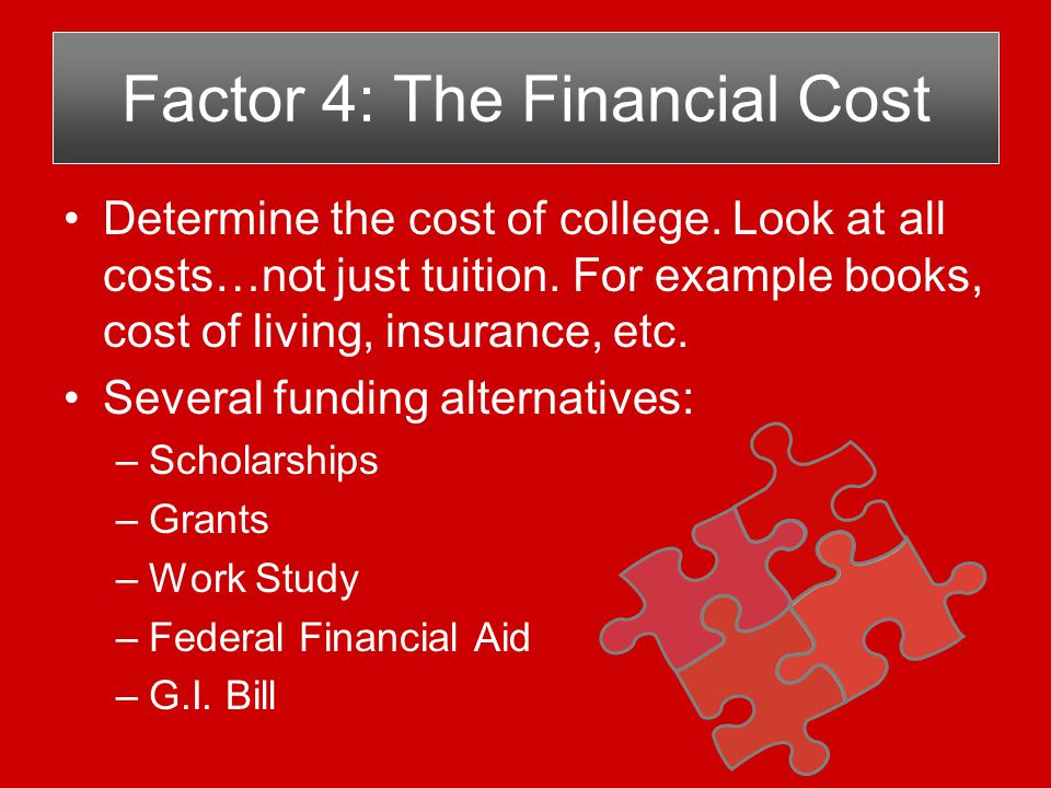 Develop a Plan to Pay for College Determine actual cost of each college.