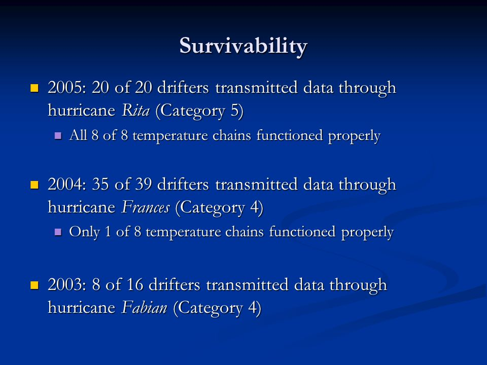 Data on the GTS New GTS templates created New GTS templates created Buoy pressure and SST data where assimilated into the hurricane prediction models in real time Buoy pressure and SST data where assimilated into the hurricane prediction models in real time Subsurface temperature not on the GTS right away Subsurface temperature not on the GTS right away Special thank to Mayra, Etienne and Andy for their work on getting the data on the GTS Special thank to Mayra, Etienne and Andy for their work on getting the data on the GTS