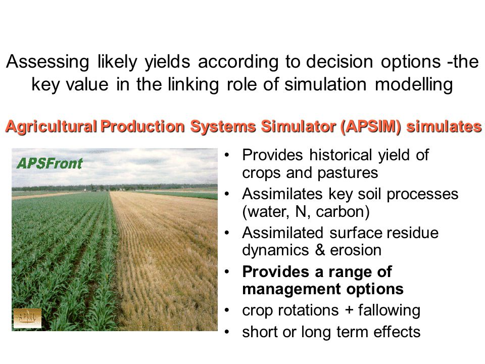 Assessing likely yields according to decision options -the key value in the linking role of simulation modelling Provides historical yield of crops and pastures Assimilates key soil processes (water, N, carbon) Assimilated surface residue dynamics & erosion Provides a range of management options crop rotations + fallowing short or long term effects Agricultural Production Systems Simulator (APSIM) simulates