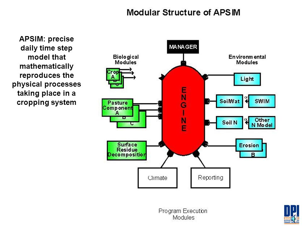APSIM: precise daily time step model that mathematically reproduces the physical processes taking place in a cropping system