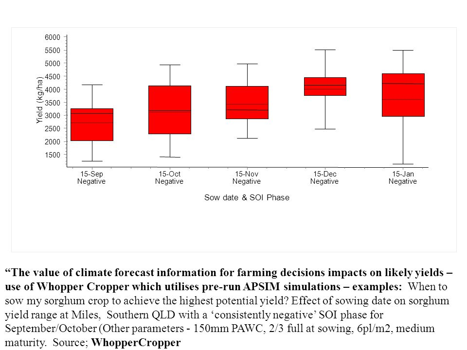 The value of climate forecast information for farming decisions impacts on likely yields – use of Whopper Cropper which utilises pre-run APSIM simulations – examples: When to sow my sorghum crop to achieve the highest potential yield.