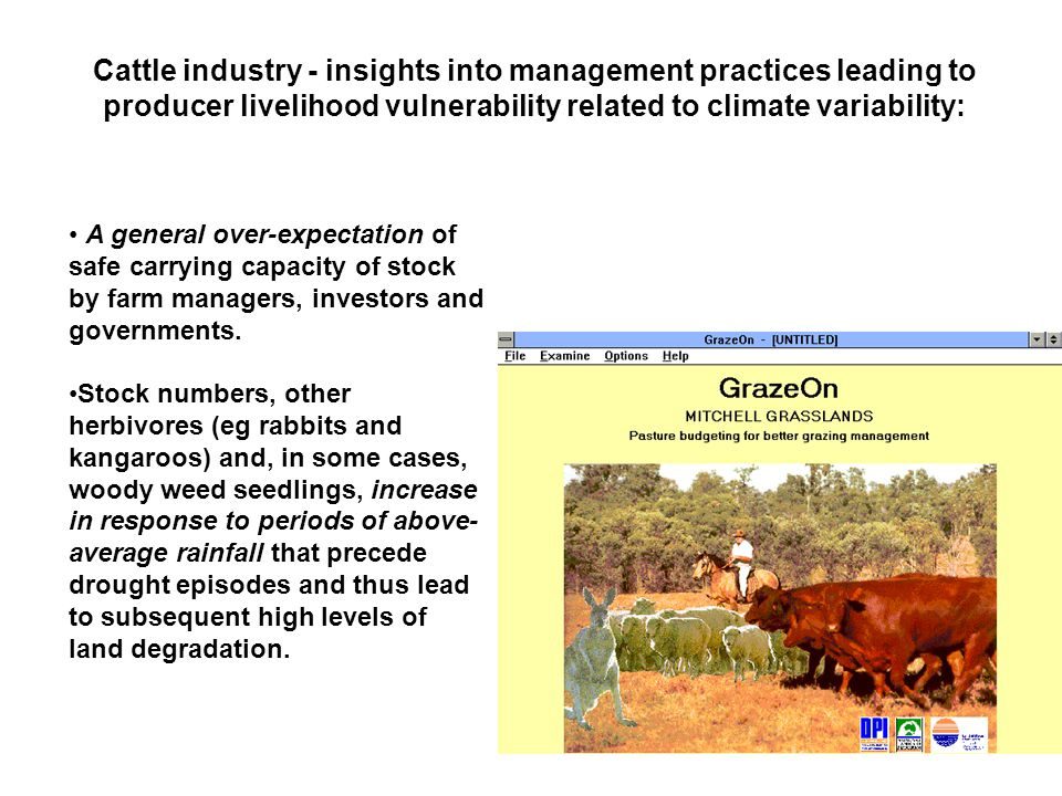 A general over-expectation of safe carrying capacity of stock by farm managers, investors and governments.