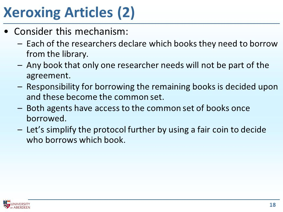 19 Xeroxing Articles (3) What is the best strategy for an agent to adopt.