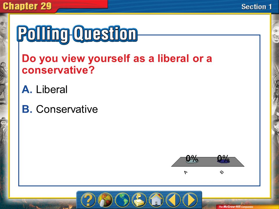 Section 1 Liberalism and Conservatism Conservatives and liberals disagreed about the role of the government.