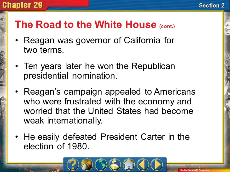 A.A B.B C.C D.D Section 2 Which job that Reagan had as a teenager shaped part of his political philosophy.