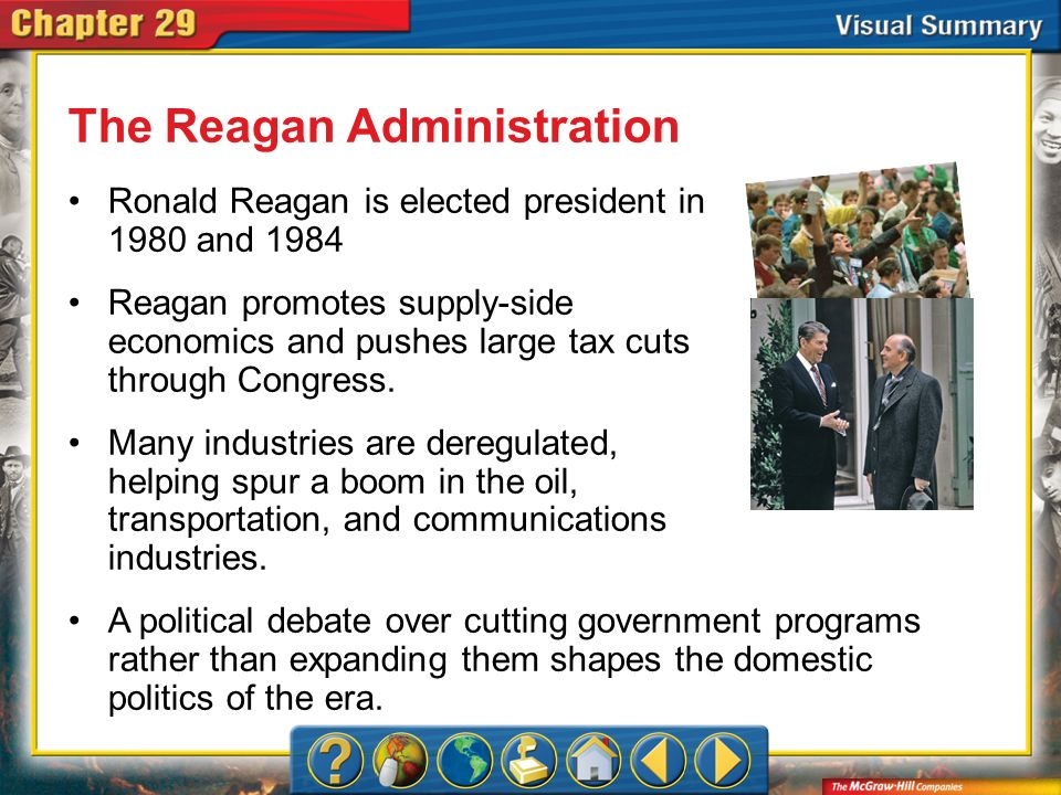 VS 4 The Reagan Administration Reagans administration takes a strong anti-Communist stance in Latin America, the Caribbean, and the Middle East, providing aid to groups that resist communism.
