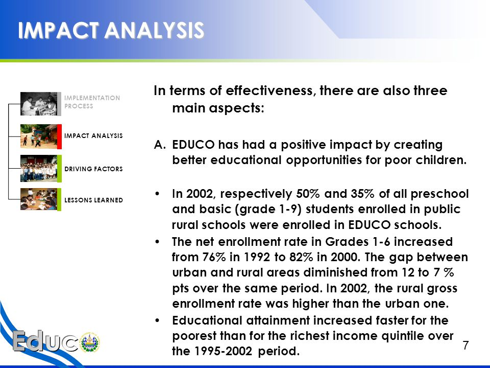 IMPACT ANALYSIS Additionally, late entrance to the first grade has decreased in EDUCO schools.