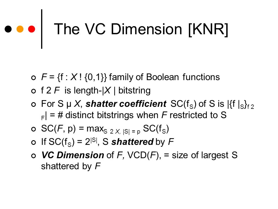 Shatter Coefficient Theorem Notation: For f: X £ Y .