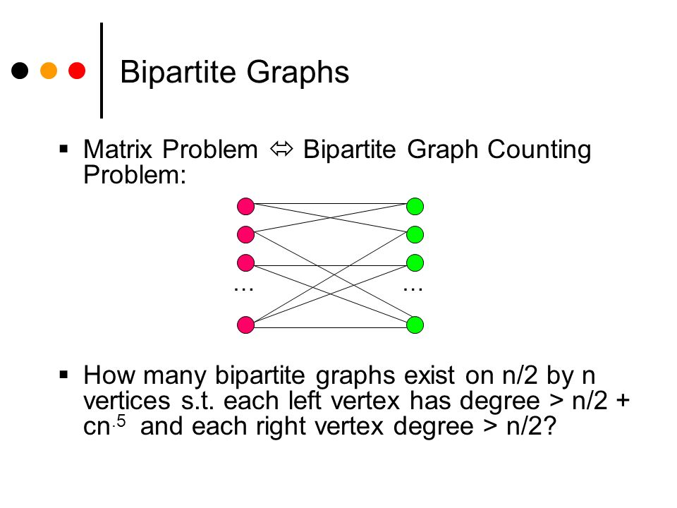 Second Result Bipartite graph count: Probabilistic argument shows at least 2 n^2/2 – zn/2 –n such bipartite graphs for constant z < 1.