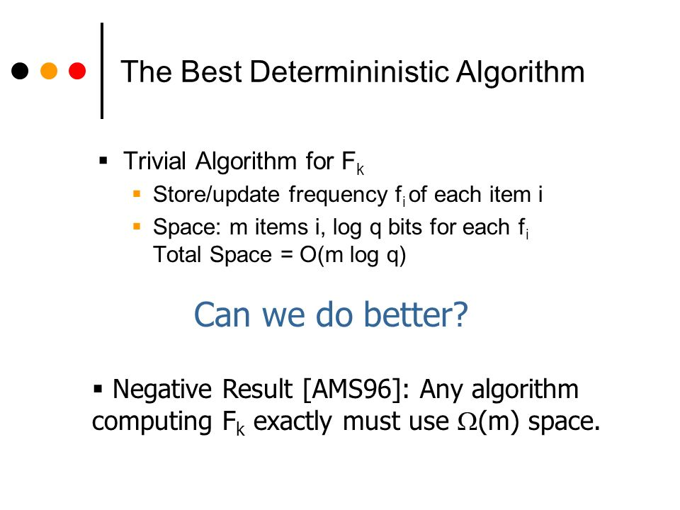 Approximating F k Negative Result [AMS96]: Any deterministic algorithm that outputs x with |F k – x| < F k must use (m) space.