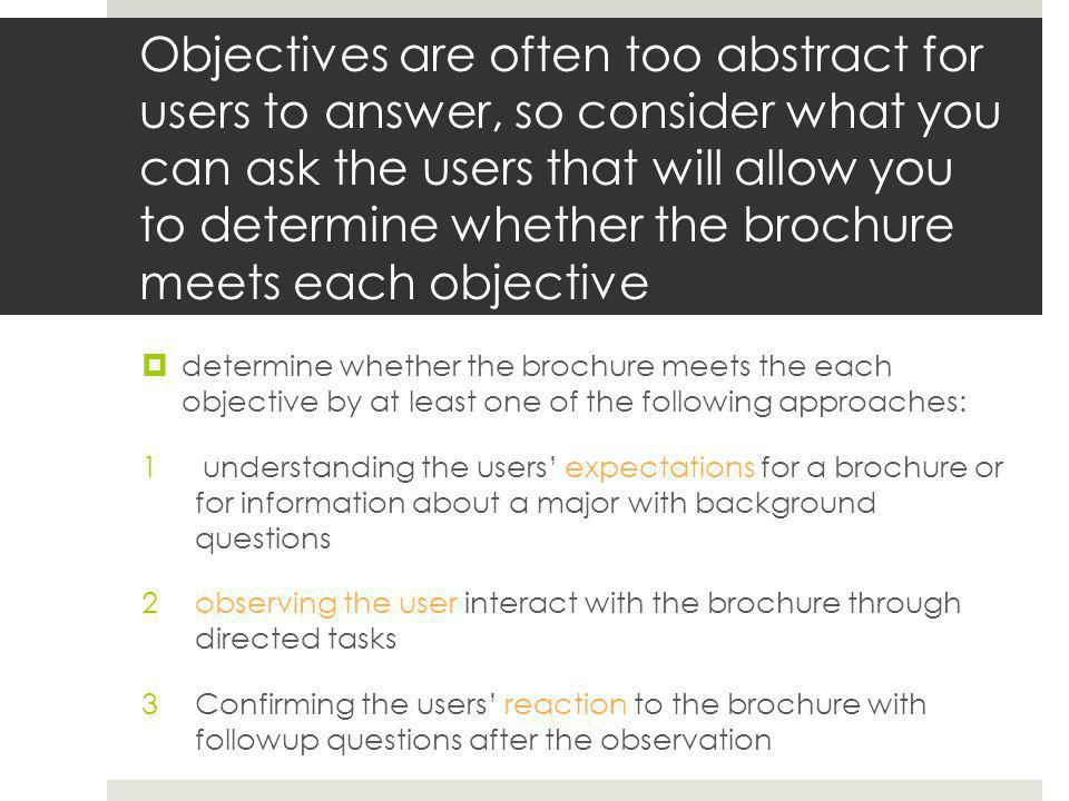 Each of these approaches matches a part of a usability research process 1.