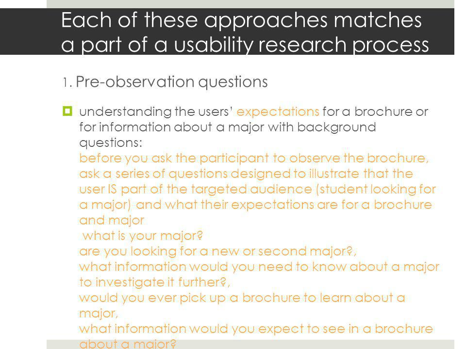 Each of these approaches matches a part of a usability research process 2.