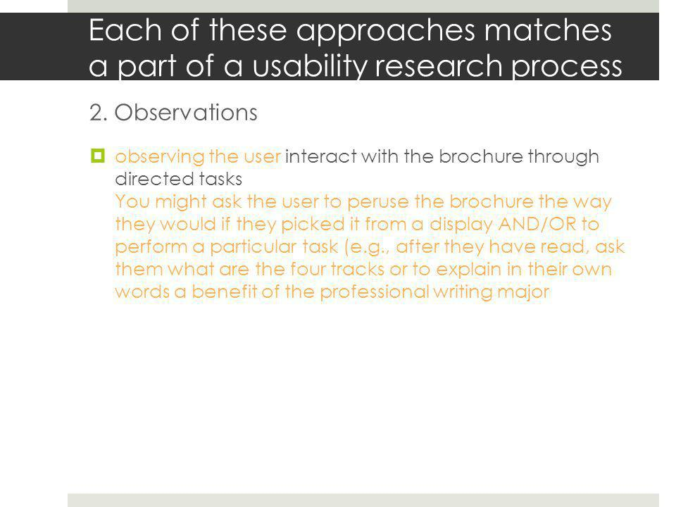 Each of these approaches matches a part of a usability research process 3.