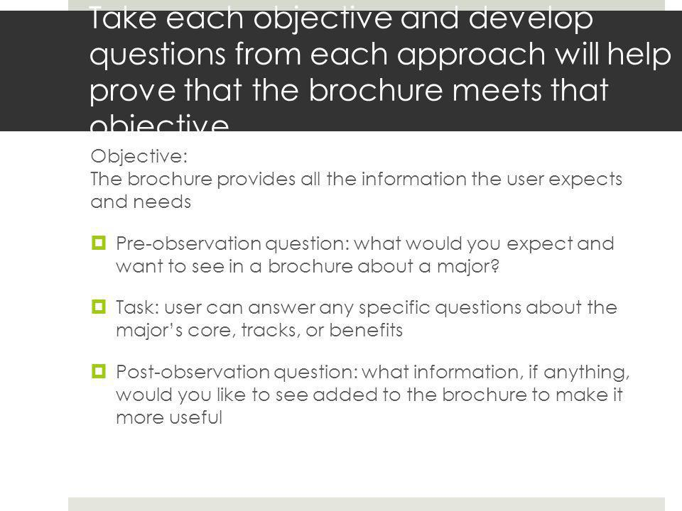 Take each objective and develop questions from each approach will help prove that the brochure meets that objective Objective: Visual cues encourage users to read the brochure in the anticipated order Pre-observation question: Observation or task: Post-observation question: