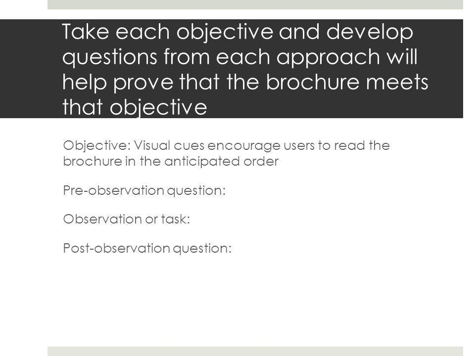 As you conduct your usability research:  Conduct the research in a public or comfortable location for you and the participant  Print two consent forms for each participant—have them sign both—one for you, one for them to keep (available on schedule)  Verbally ask pre and post observation question  You'll get more and richer feedback  During observation, remind participants that you are evaluating the brochure, not them  During observation, take notes of what the participant is doing in three columns: panel | problem/comment | what prompted problem or comment