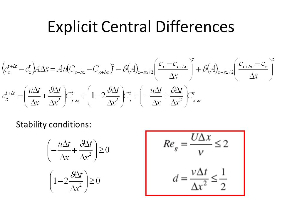 Understanding the Central Differences Why are CD instable without diffusion.