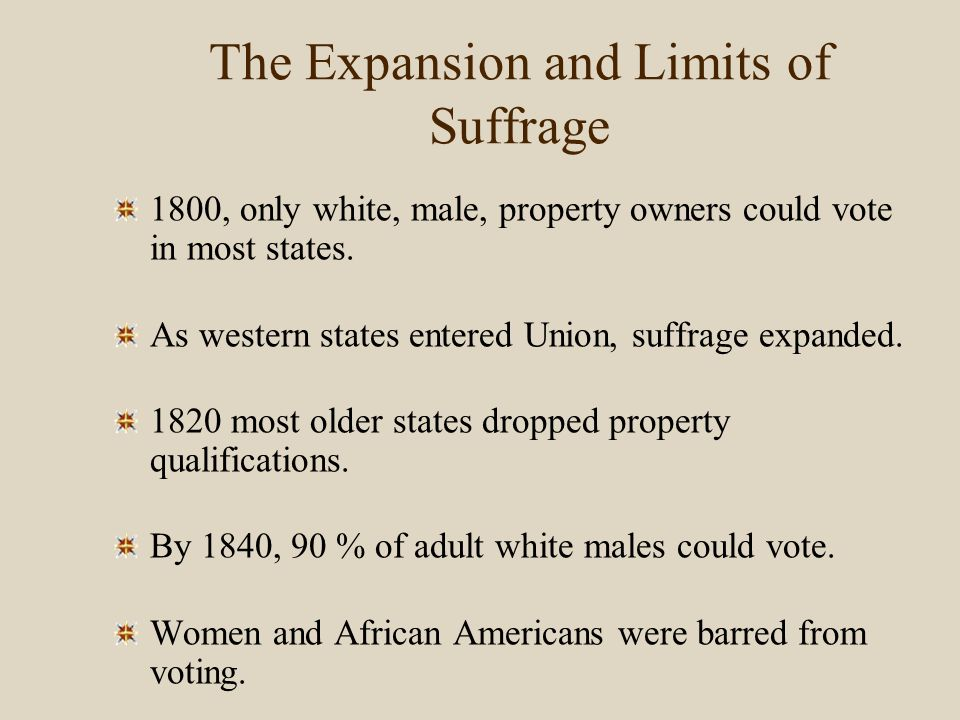 MAP 11.2a The Growth of Universal White Male Suffrage Kentucky was the first western state to enact white male suffrage without tax or property qualifications.