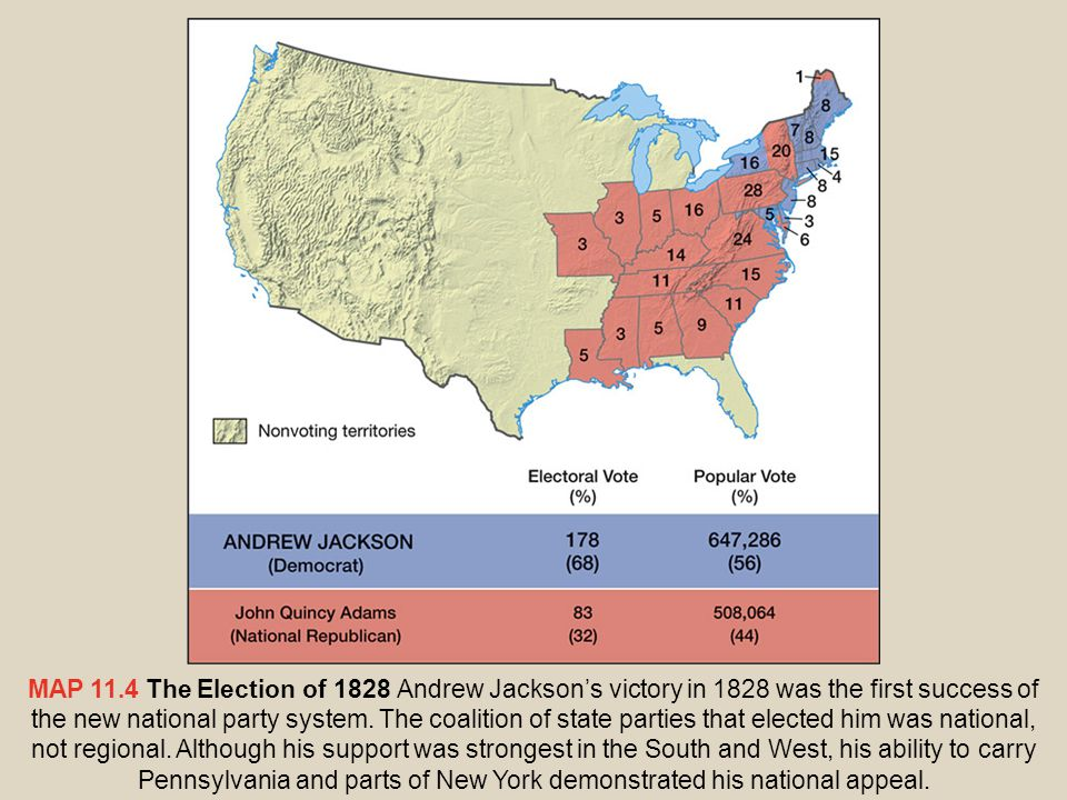 FIGURE 11.3 Pre–Civil War Voter Turnout The turnout of voters in presidential elections more than doubled from 1824 to 1828, the year Andrew Jackson was first elected.Turnout surged to 80 percent in 1840, the year the Whigs triumphed.The extension of suffrage to all white men, and heated competition between two political parties with nationwide membership, turned presidential election campaigns into events with great popular appeal.