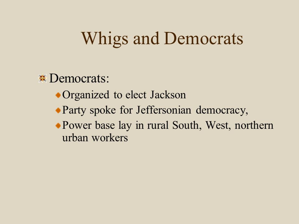 Whigs and Democrats Whigs: Organized in opposition to Jackson Heirs to Federalism, Power base lay in the North and Old Northwest