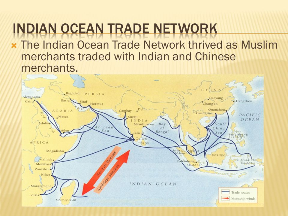  The Indian Ocean Trade Network thrived as Muslim merchants traded with Indian and Chinese merchants.