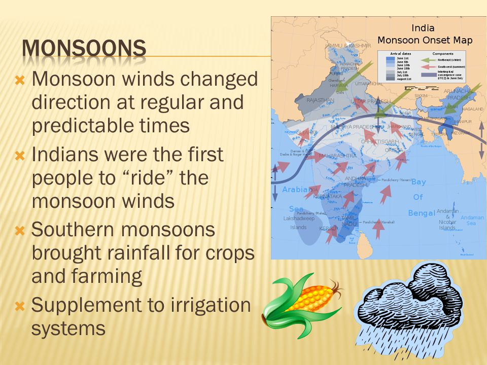  Monsoon winds changed direction at regular and predictable times  Indians were the first people to ride the monsoon winds  Southern monsoons brought rainfall for crops and farming  Supplement to irrigation systems