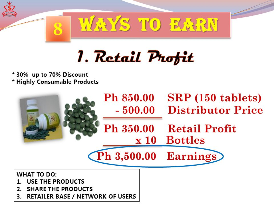 INCOME: 5 x 300 = P1,500 / WEEK 10 x 300 = P3,000 15 x 300 = P4,500 20 x 300 = P6,000 8 8 * Php300 per Entry Package P300