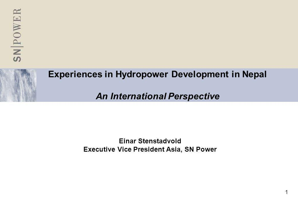 2 SN Power is placed in the intersection of two global megatrends Growth in emerging markets Demand for renewable energy