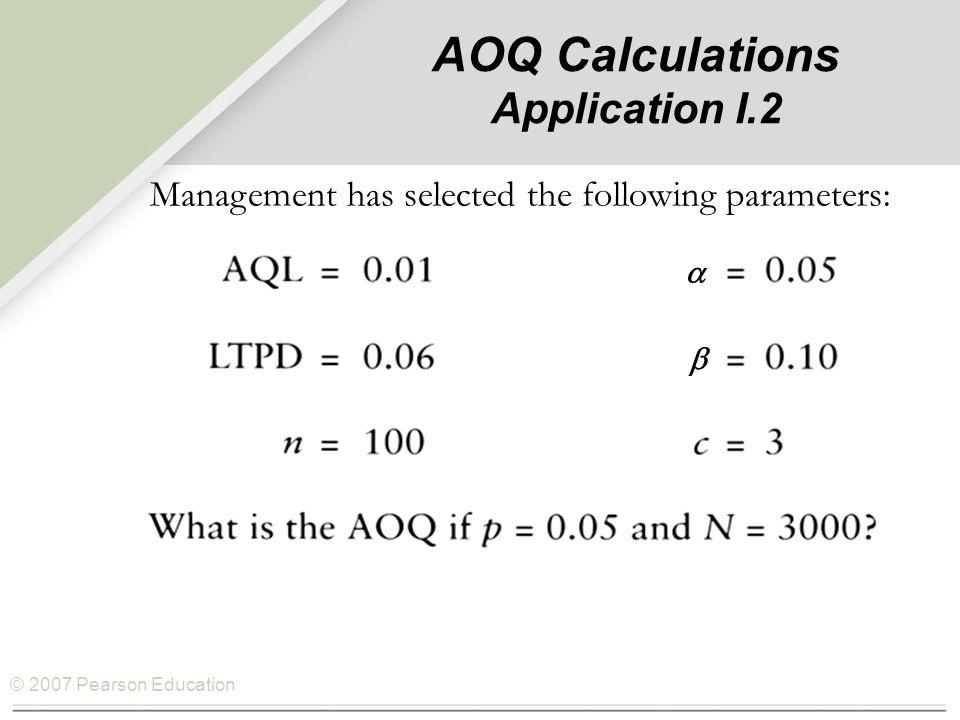 © 2007 Pearson Education AOQ Calculations Application I.2