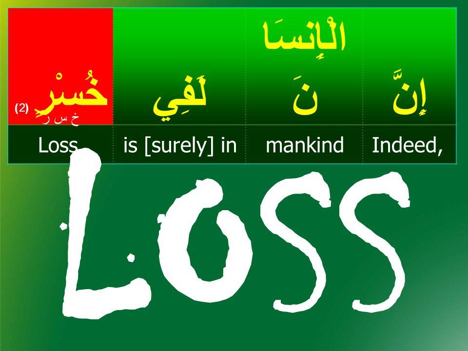 إِنَّ الْإِنسَا نَلَفِيخُسْرٍ ( 2) Indeed,mankindis [surely] inLoss, خ س رخ س ر LOSS