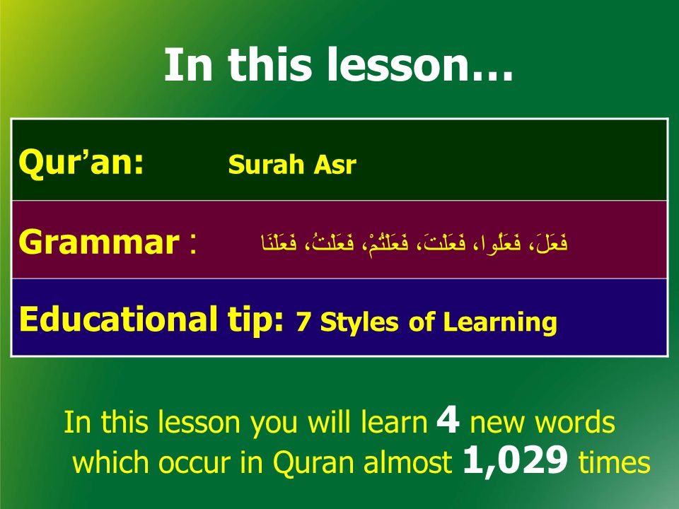 In this lesson… Qur ' an: Surah Asr Grammar : فَعَلَ، فَعَلُوا، فَعَلْتَ، فَعَلْتُمْ، فَعَلْتُ، فَعَلْنَا Educational tip: 7 Styles of Learning In this lesson you will learn 4 new words which occur in Quran almost 1,029 times