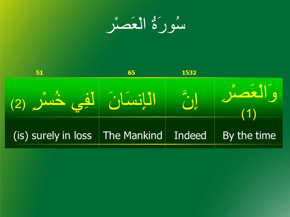 سُورَۃُ الْعَصْر 15326551 وَالْعَصْرِ (1) إِنَّالْإِنسَانَلَفِي خُسْرٍ ( 2) By the timeIndeedThe Mankind(is) surely in loss