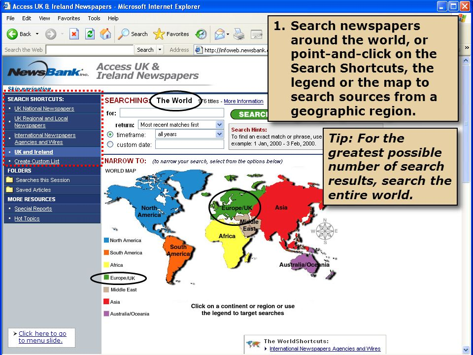 2.For tighter search results, narrow your search to all sources in the U.K.