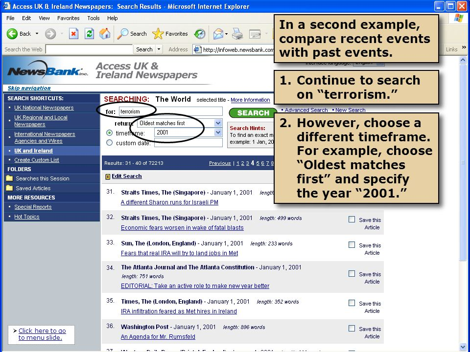 1.Narrow your search to specific publications within the group by checking their respective boxes.