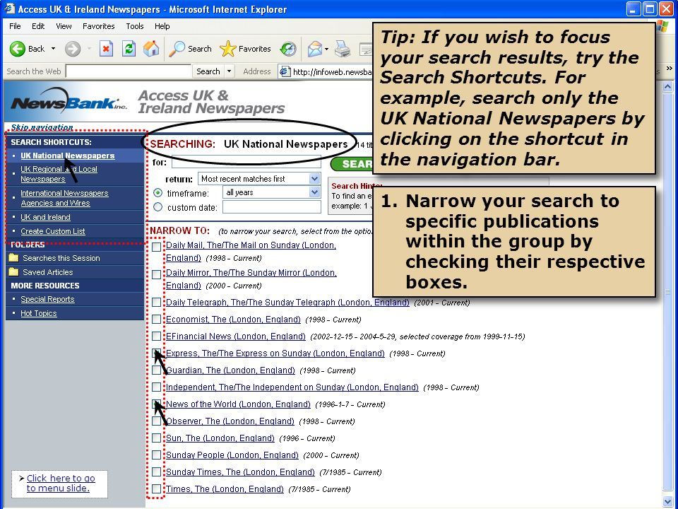 2.Or, search a single newspaper by clicking on its title in the previous list.