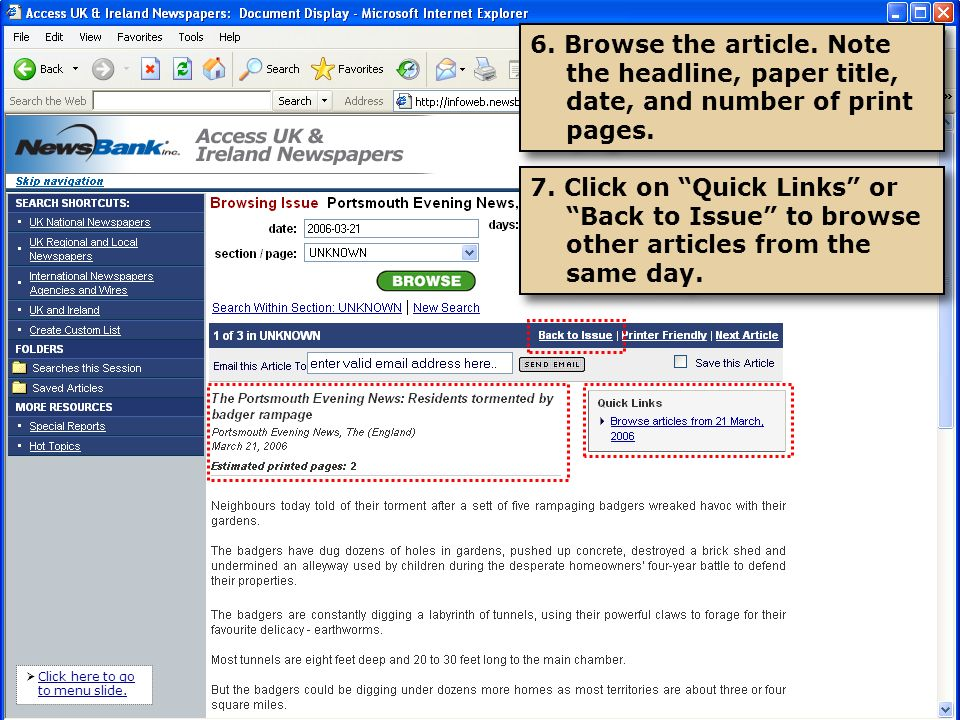 Tip: At the bottom of each article is more information on the source and copyright.