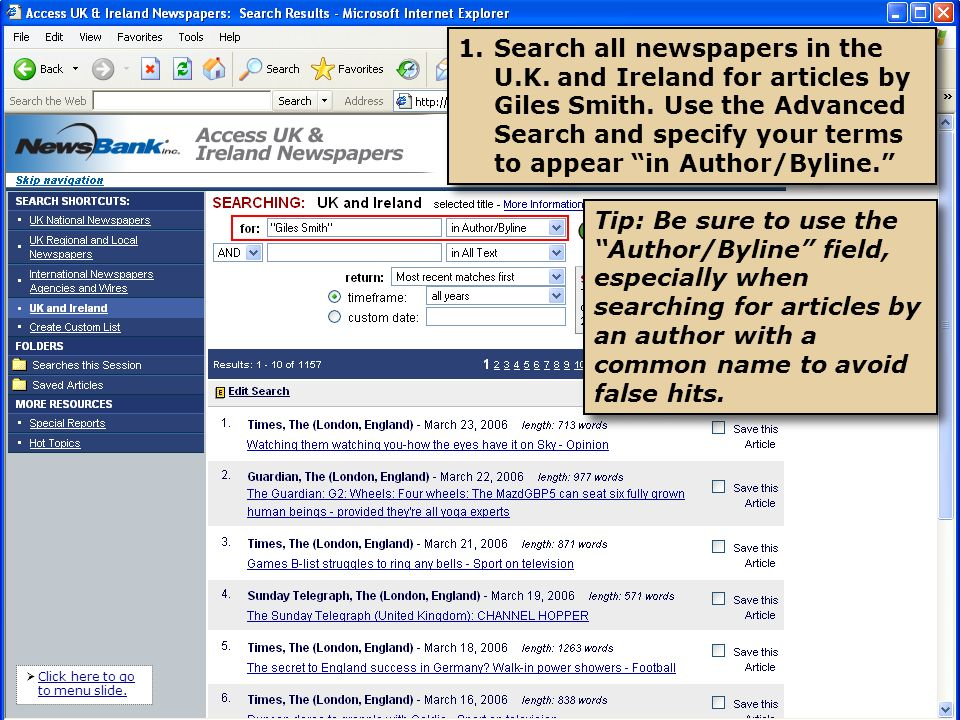 2.View your results.Note that your search terms appear in the Author field, as specified.
