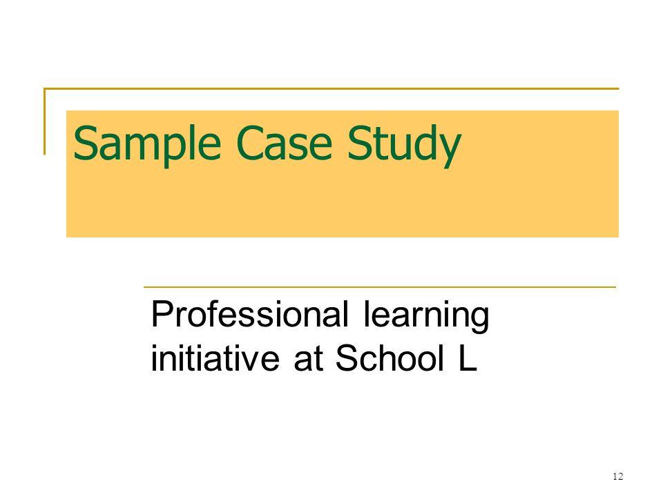 13 Sample Case Study: School L 1.