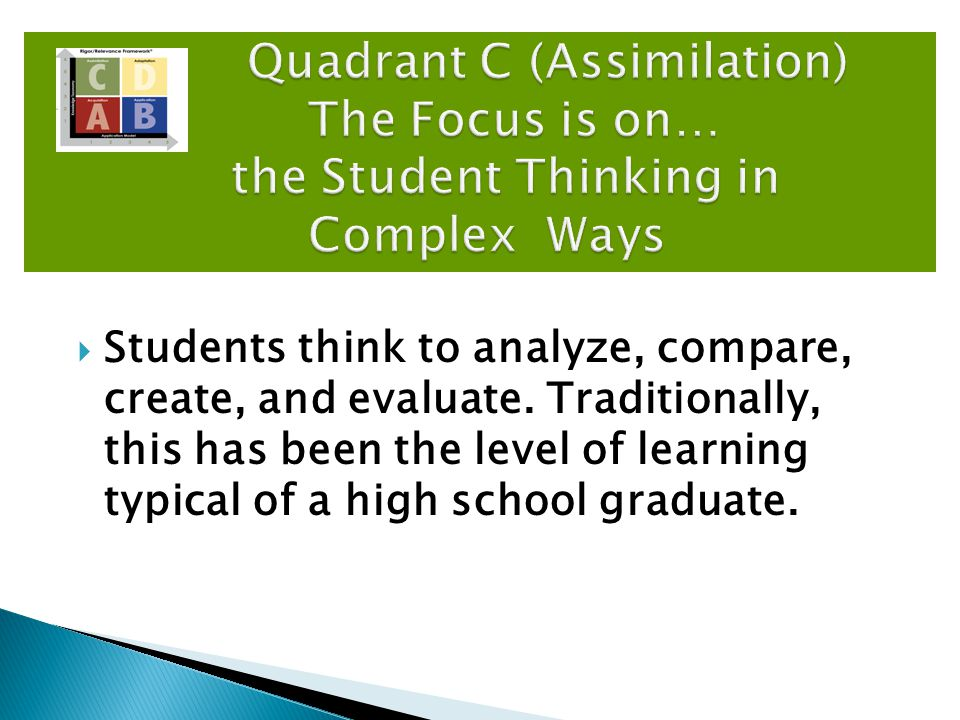  Typical Student Activities: Compare/Contrast Manipulatives/Models Summarizing Brainstorm Create Word Puzzles Quadrant C (Assimilation) The Focus is on… the Student Thinking in Complex Ways Quadrant C (Assimilation) The Focus is on… the Student Thinking in Complex Ways