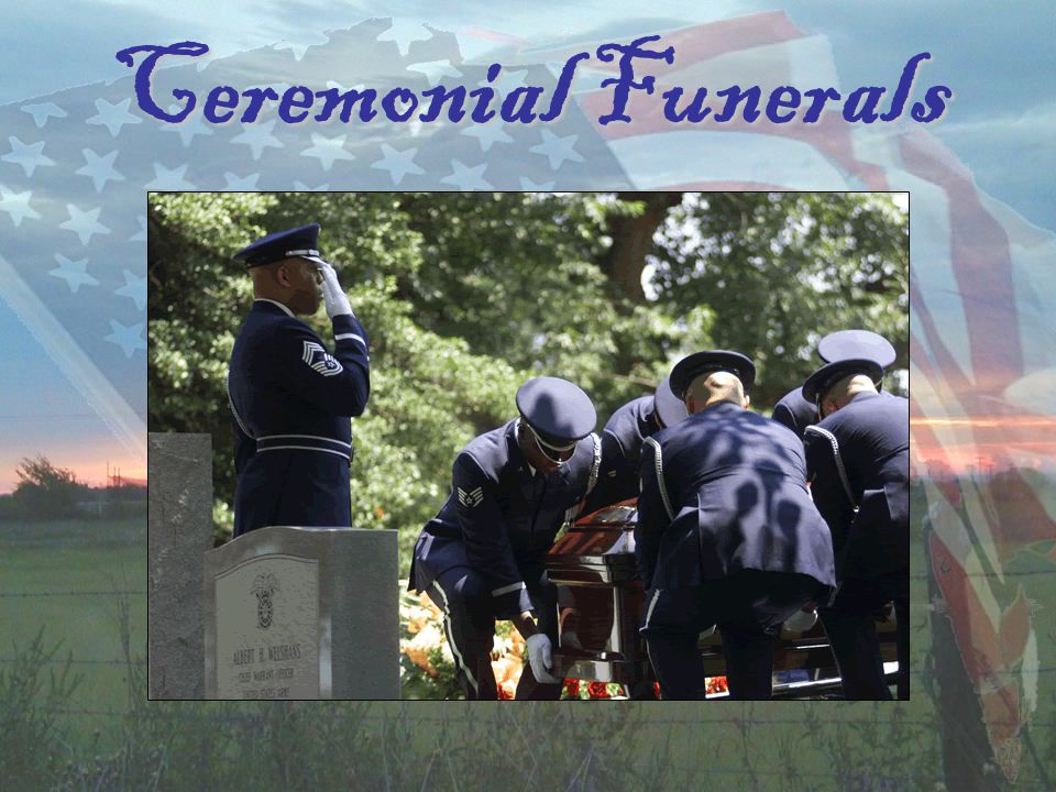 Training (What We Practice) Standing ManualsStanding Manuals Color GuardColor Guard Firing PartyFiring Party FuneralsFunerals Parade DetailParade Detail Wear of the Ceremonial Dress UniformWear of the Ceremonial Dress Uniform