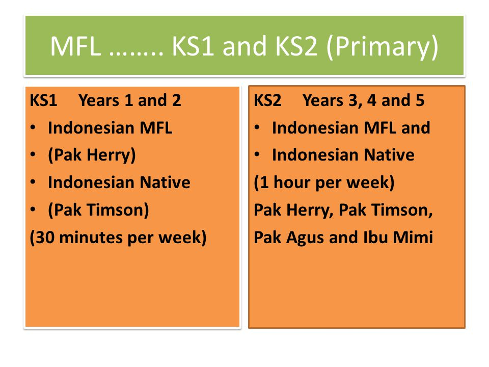 KS2 Year 6 (2x1 hour per week) Study any 2 languages till the end of KS3 KS2 Year 6 Spanish French German KS2 Year 6 Spanish French German KS2 Year 6 Indonesian MFL Indonesian Native Mandarin Japanese KS2 Year 6 Indonesian MFL Indonesian Native Mandarin Japanese In most cases, the Year 7 text book is used as a transition to KS3 language study.